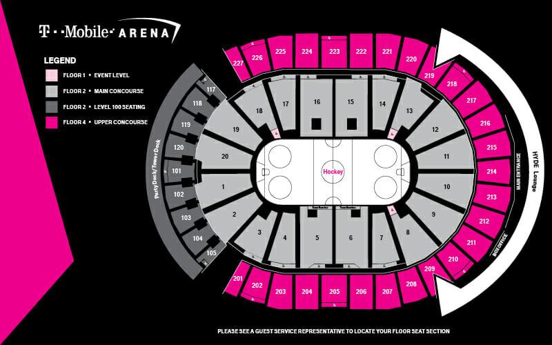 Vegas Golden Knights karta över arenan